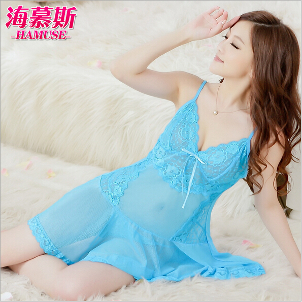 women sleep gowns for night bule silk sexy short lace sleeping dresses(China (Mainland))