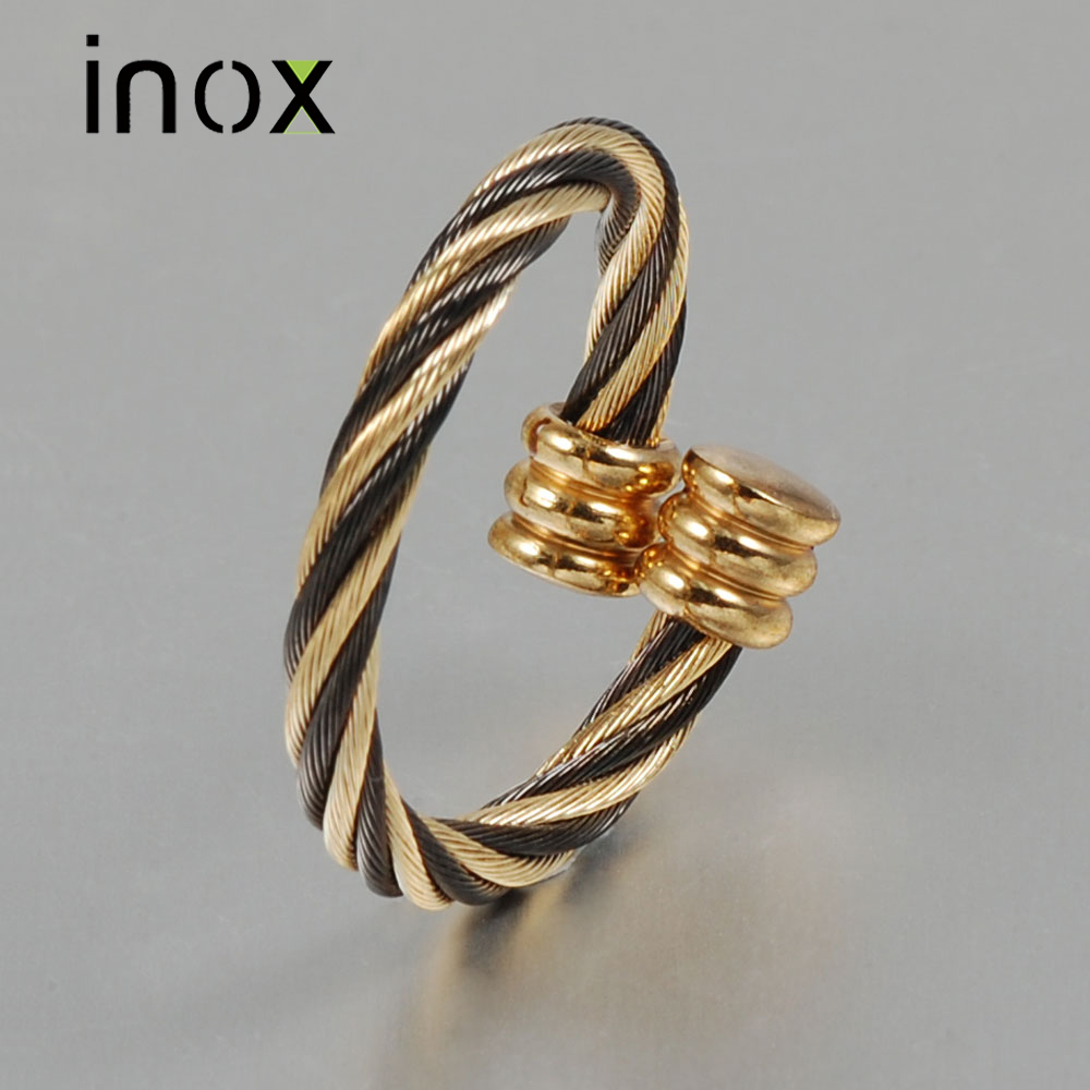 Inox Jewelry Gold and Black Plated Wire Stainless Steel Ring For Women Wide 2.5mm Adjustable Jewelry USA Size(China (Mainland))