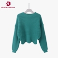 Sinofashion Loose Knitted Sweater 2016 Korean women s casual fall round neck Pullover backing down swing