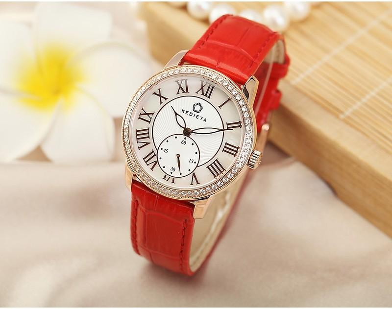 KEDIEYA Женские Часы Из Розового Золота Покрытием Из Натуральной Кожи Дизайнер Наручные Часы Японский Miyota Кварцевые Часы