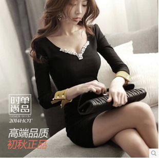 new Korean women's Spring winter Sexy long-sleeved nail bead v-neck cultivate morality nightclub package hip dresses vestidos(China (Mainland))