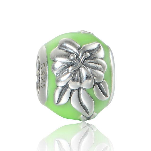 925 - серебристо-ювелирные бусины D133 цветок в зеленой эмалью бусины Fit Chamilia пандора браслет серебро 925 ювелирных изделий DIY