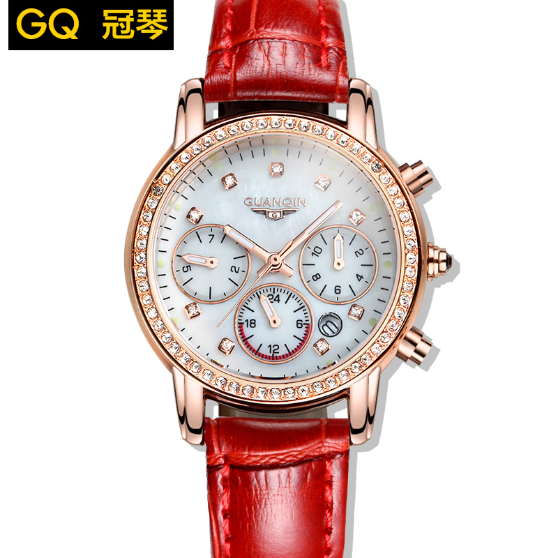 Ms GUANQIN brand set auger quartz watch fashion leisure waterproof leather women watch of wrist of original luxury business(China (Mainland))