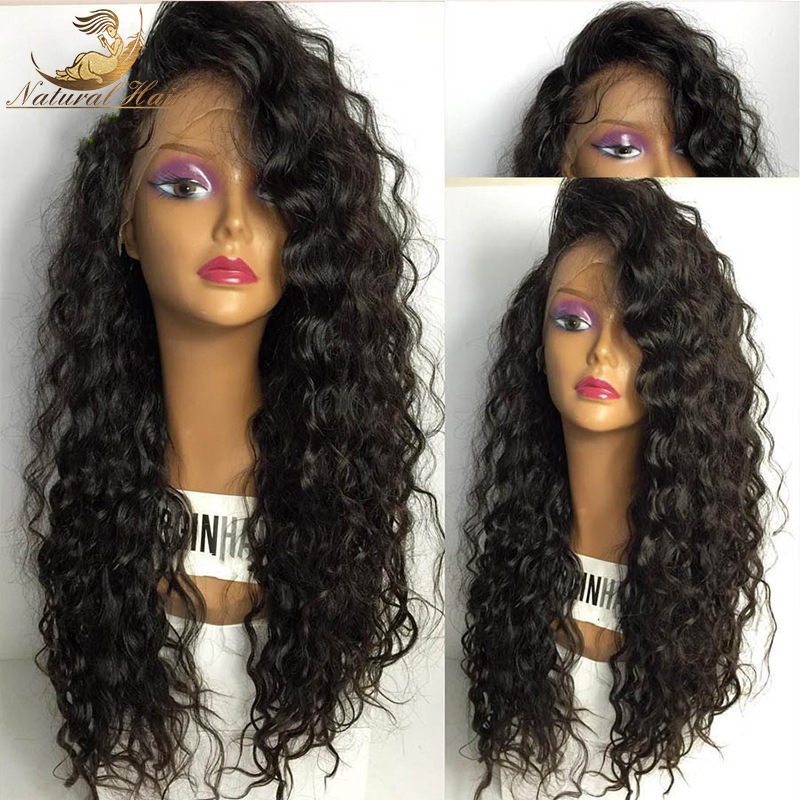 Best Density Front Lace Wigs Full Lace Human Hair Wigs Malaysian Curly Human Hair Lace Front Wigs Black Women(China (Mainland))