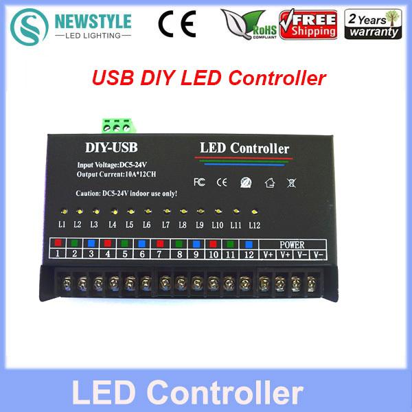 Led RGB Controller 12 Channels Dynamic USB DIY LED Controller for full color single color controller Free Shipping(China (Mainland))