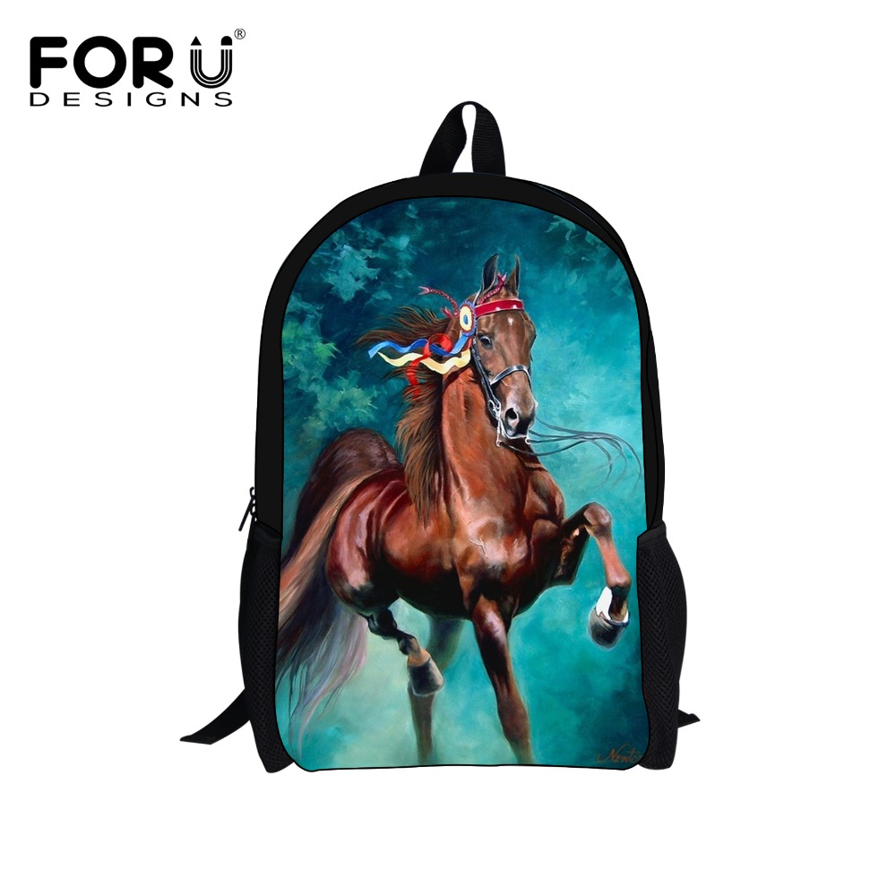 3D Zoo Animal Printing Backpack Children Bagpack,Crazy Horse School Bags For Teenagers Boys,Men's Travel Bag Students Mochila(China (Mainland))
