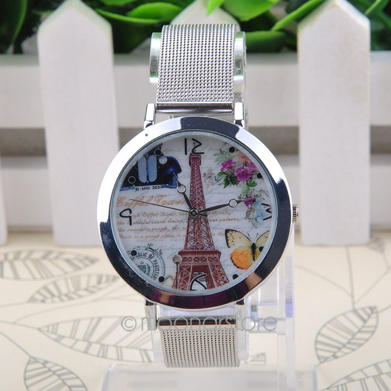 2015 Fashion Women Watch Stainless Steel Mesh Band Watches Quartz Wrist Watch Eiffe Tower Butterfly relogio feminino USCNMPJ578(China (Mainland))