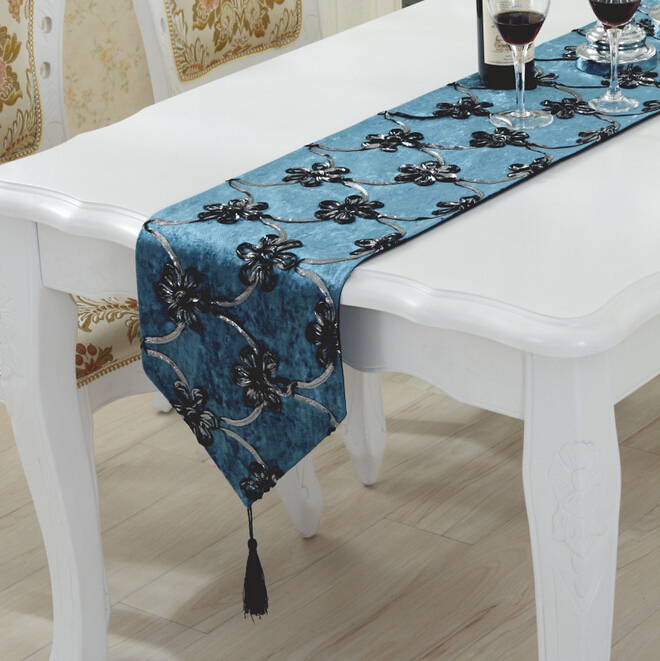 Chemin de table toile de jute dentelle decorative handmade home blue table runners in table - Chemin de table toile de jute dentelle ...