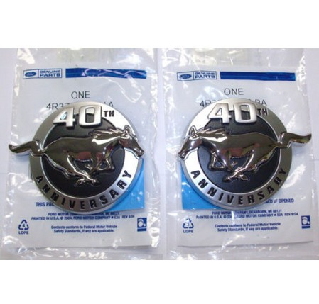 ABS New 2004 mustang 40th Anniversary Fender emblem SET for ford(China (Mainland))