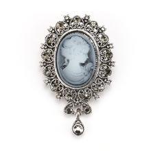 WEIMANJINGDIAN di Stile Dell'annata Di Cristallo Strass Teardrop Cammeo Spille in argento antico/oro di colore placcato(China)