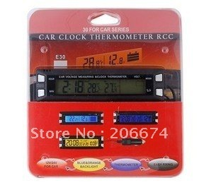 In-Car Use Digital Clock with Temperature & Power Detecting (Black) On-board electronic watch free shipping
