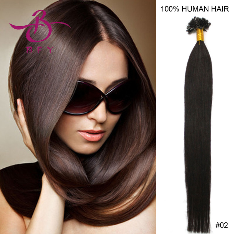 """16""""18""""20""""22"""" Keratin U tip Indian Remy hair extension #02 Dark brown color 500pieces/LOT mixed colours accepted(China (Mainland))"""