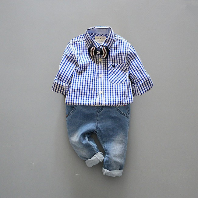 EMS /DHL Fee Shipping  Wholesale NEW! Kids Wear Boys Gentlema suit 2pc set Check shirt + jeans kid Clothing<br><br>Aliexpress