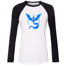 iDzn Women T-shirt Pokemon Go Game Fans Articuno Team Blue Team Pattern Raglan Long Sleeve Girl T shirt Sports Lady Tee Tops