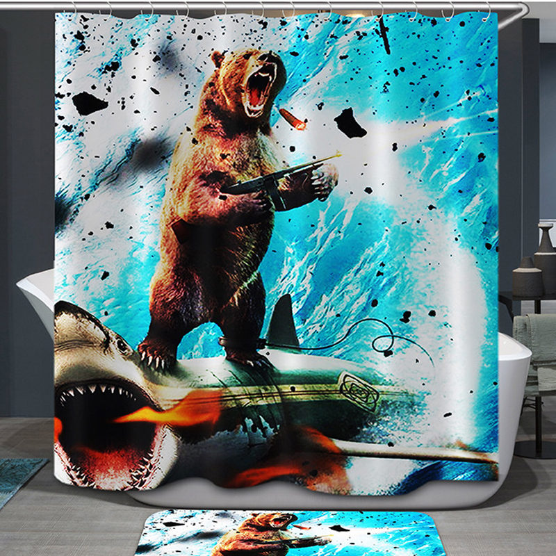 Comwarm Funny Animals Elephant Pattern Polyester Shower Curtain