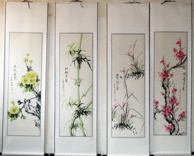 plum blossoms, orchid, bamboo and chrysanthemum of Four screen ART Chinese calligraphy painting ,china post  free shipping