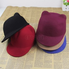 A96 Free Shipping New Winter Fashion Women Devil Hat Cute Kitty Cat Ears Wool Derby Bowler Cap(China (Mainland))