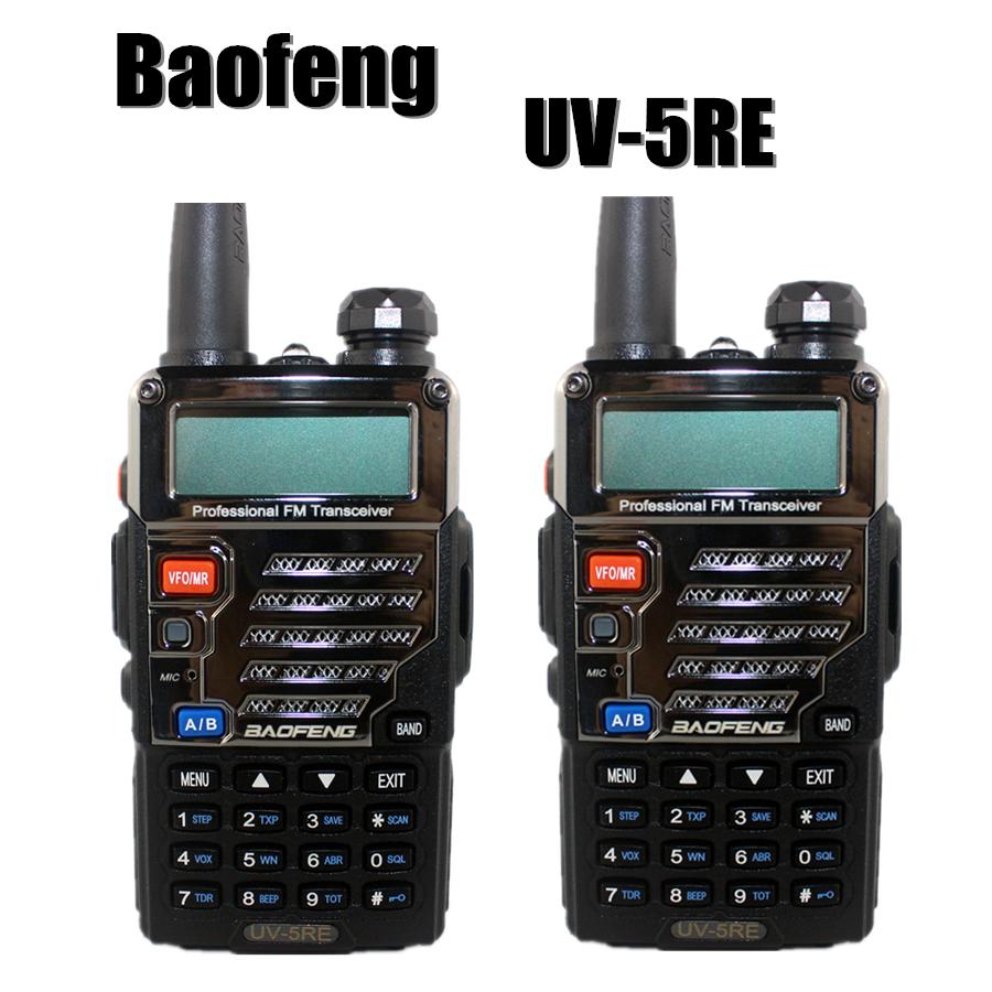 2set New BaoFeng UV-5RE Black Walkie Talkie dual band VHF/UHF 136-174MHz&400-520 MHz amateur hamTwo Way Radio with free shipping(China (Mainland))