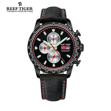 Reef Tiger/RT Sport Watch for Men Chronograph Quartz Watch With Italian Calfskin Leather And Super Luminous Black PVD RGA3029
