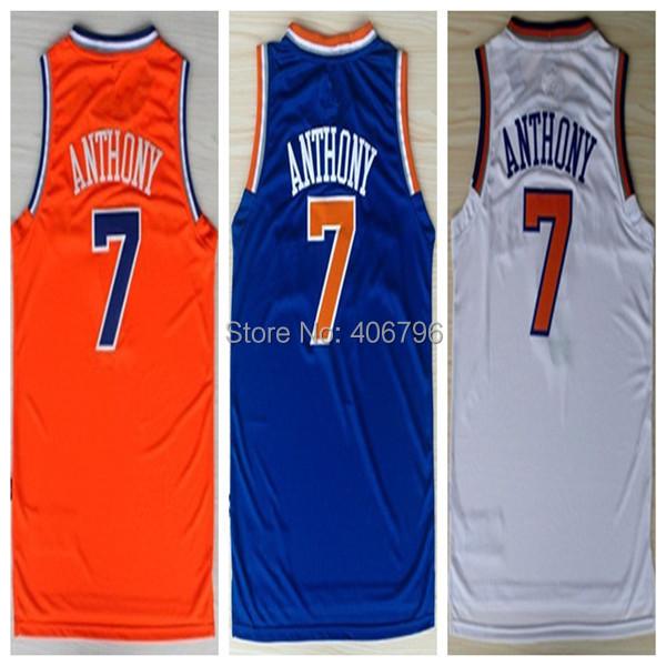 #7 Carmelo Anthony Brand New Jerseys Blue/Orange/White Basketball Jersey(China (Mainland))