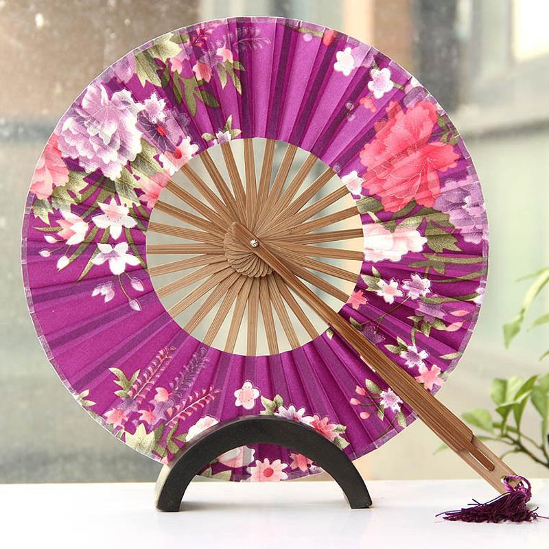 Round windmill fan Bamboo folding hand fans Wedding Favor Wind Japanese fan free shipping(China (Mainland))