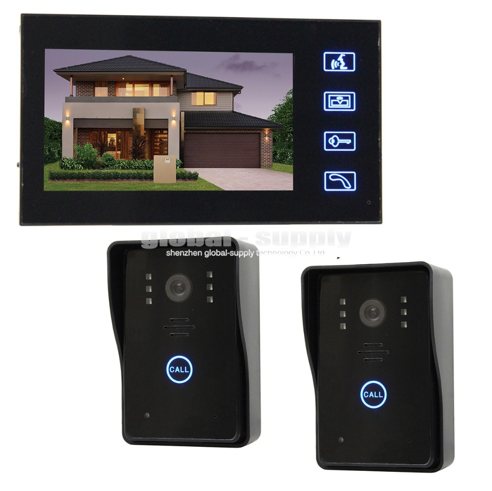 Wired Door Phone Doorbell Touch Key 7 inch Lcd Video With Ir Camera Home Intercom 1 Monitor 2 Camera SY806MJ21(China (Mainland))