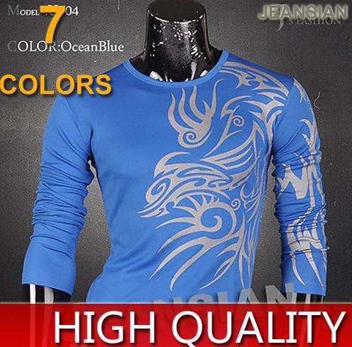 News Arrival Special Mens Fashion Casual Stylish Design Top Tee Hot Sales Slim O-Neck Tattoo Print T-Shirts 7 Colors 4 Size U004(China (Mainland))
