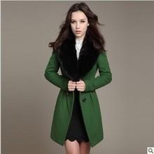 2013 autumn and winter wool overcoat female woolen outerwear rabbit fur slim woolen medium-long overcoat