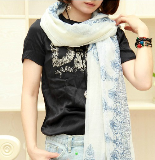 Cheap 2015 New Fashion Winter Women Long Blue White Porcelain Print Scarves Shawl Voile Scarf - Shenzhen Sundah Tech Co., Ltd.(Craft & Gift Dept. store)