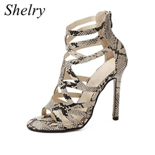 women shoes snake skin high heels women's sandals cut-outs gladiator sandals women's shoes 2016 fashion female summer shoes(China (Mainland))