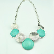 N67 Green Turquoise Stone Natural Stone Necklace Pendant Jewlery Women Vintage Look Tibet Alloy free shipping