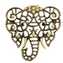 Unisex Styling Perhiasan Antik Berlian Imitasi Berongga Gajah Kristal Bros Pernikahan Pin Bros(China)