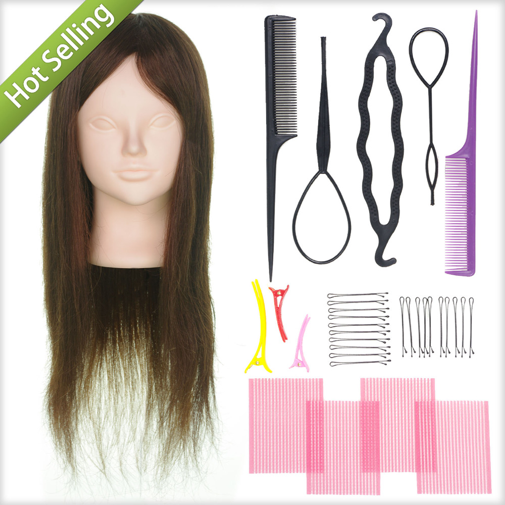 "Makeup + Brown 20"" 90% Real Human Hair 10% Animal Hair Salon Female Mannequin Doll Hairdressing Train Practice Head + Braid tool(China (Mainland))"