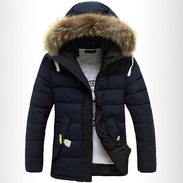Men Down Coat Winter Slim Fleece Casual Hooded Parka Brand Design Fashion Snow Warm Cotton Windproof Thickening Fit Jacket D1006(China (Mainland))