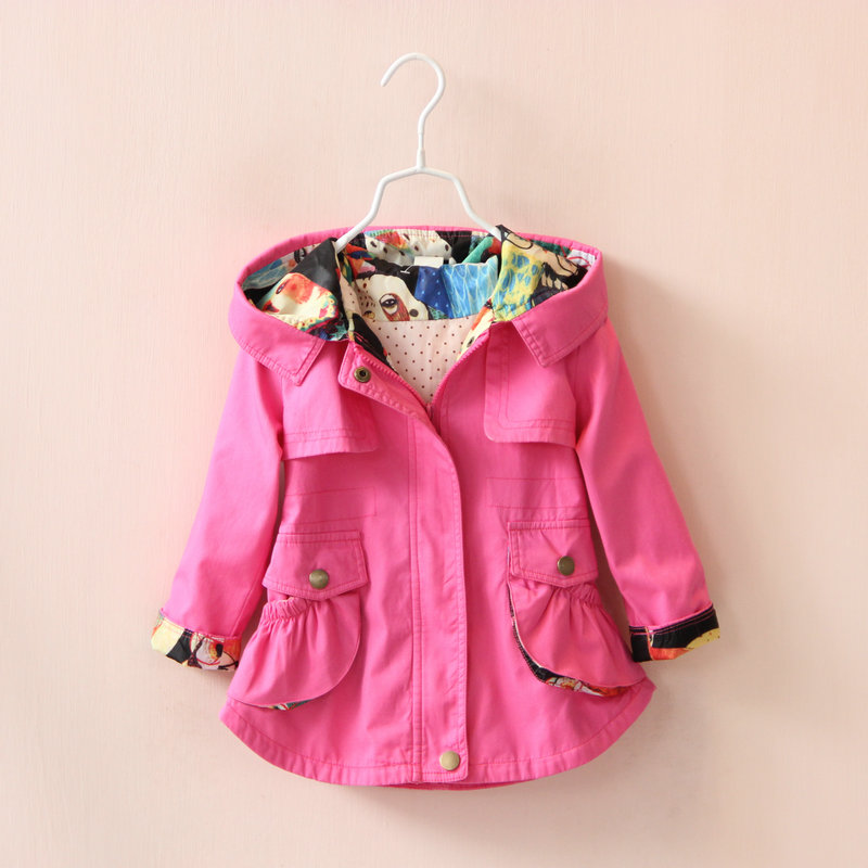 Children Girls Jacket Hooded Waist Cotton Kids Outerwear Baby Girl Coats 2-7 Years Long Windbreaker Jacket For Little Girl(China (Mainland))