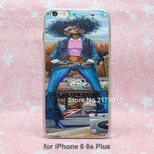 Black Women Art hard transparent clear Cover Case for Apple iPhone SE 4 4s 5 5s 5c 6 6s Plus