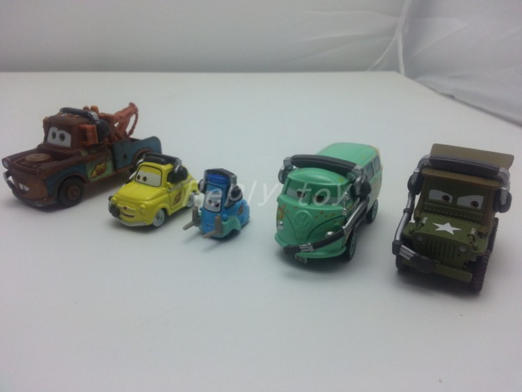 Pixar Cars 2 Mater & Fillmore & Luigi & Guido & Sarge Metal Diecast Toy Car 1:55 Loose Brand New In Stock & Free Shipping(China (Mainland))