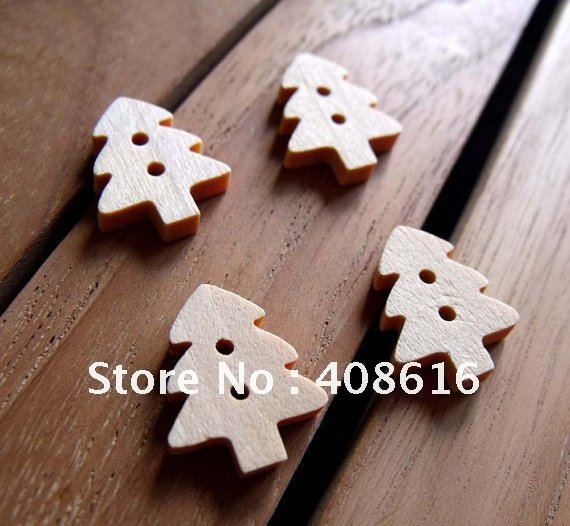 Bridal Christmas tree wood button two-holes/catoon craft DIY for child/novelty button/sewing fastener,300/lot,free shipping(China (Mainland))