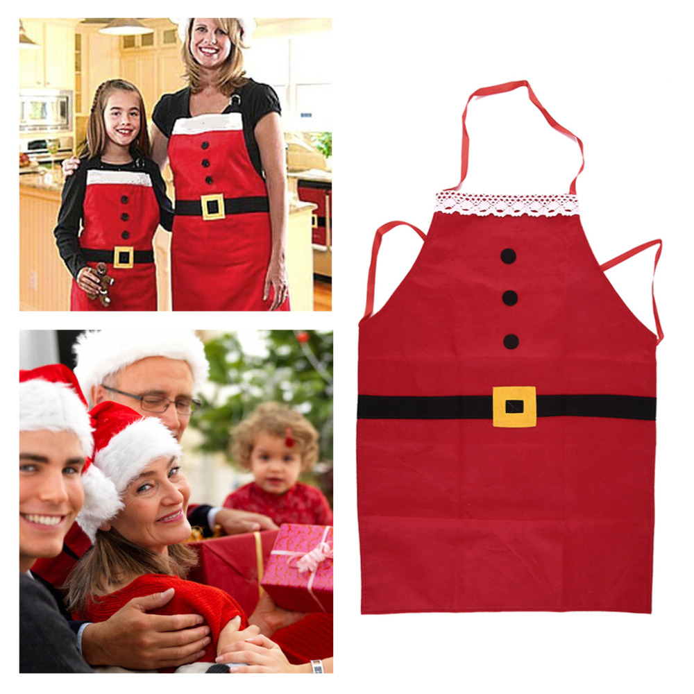 New Christmas Kitchen Bar Home Decorations Santa Claus Unisex Aprons Red Non-woven Xmas New Year Family Household Party Supplier
