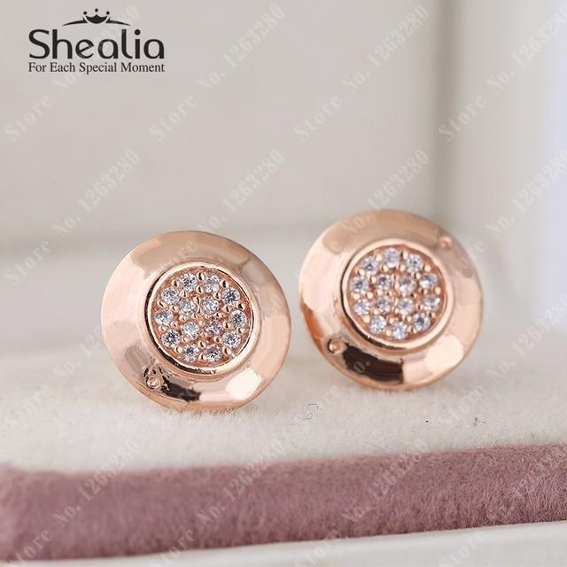 2015 новый 14 К розового золота марки логотип серьги с микро-tf ясно CZ проложить серьги стерлингового серебра 925 SHEALIA ювелирных изделий