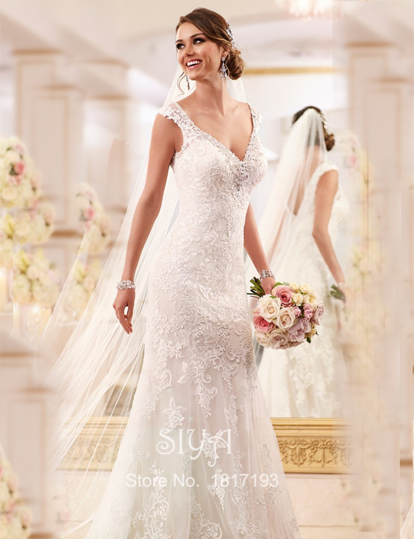 Buy sexy wedding gowns v neck women for Lace sparkle wedding dress