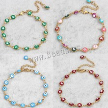 Free shipping 6 inch strand 6x11x3mm more colors for choice enamel gold color plated Stainless Steel Evil Eye Jewelry Bracelet(China (Mainland))