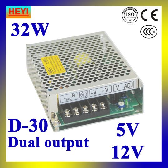 Dual output switching power supply 5V 12V 100~120V/200~240V input LED power supply 30W 5V 12V transformer<br><br>Aliexpress