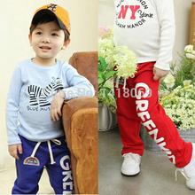 Child Baby Boys Long Pants Trousers Casual Rainbow Pattern Cotton Bottoms 2-6Y(China (Mainland))