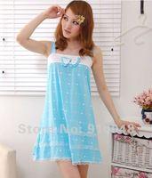 new 2015 summer women bowtie polka dot spaghetti strap cotton nightgown cute sleepwear for women fashion women pajamas
