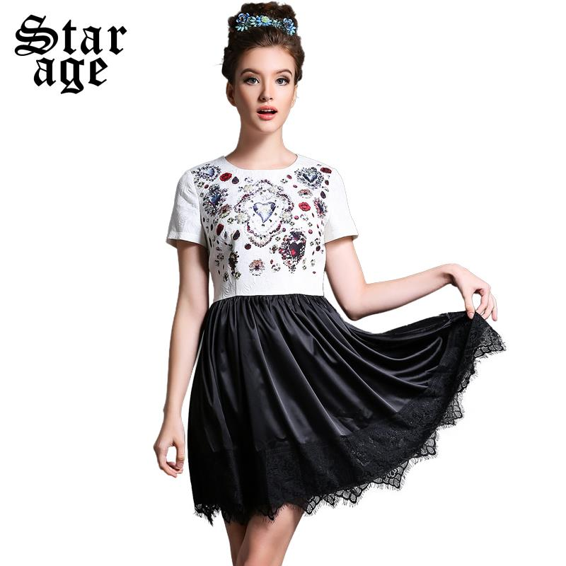 S-5XL Ladies Luxury Diamond Beads Embroidery Jacquard Dress 2015 Summer Big Size Lace Short Sleeve Pleated Casual Dress L613(China (Mainland))