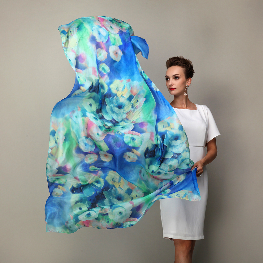 2016 Women Winter Long Scarf Shawl Spring Autumn Female Blue Silk Scarves Printed Summer 100% Mulberry Silk Beach Cover-ups(China (Mainland))