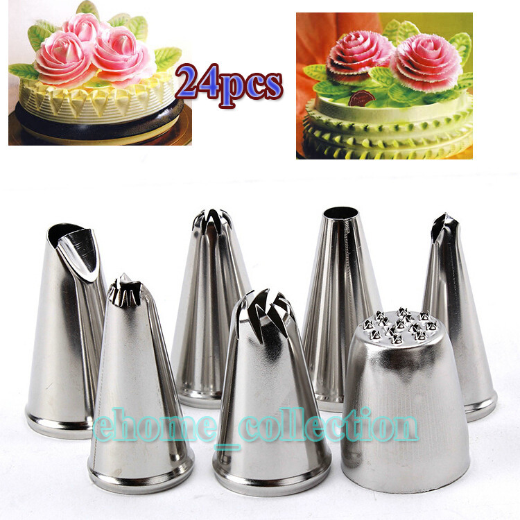 High Quality Stainless Steel 24Pcs Icing Piping Nozzle Pastry Tips Tool Set Ice Cream Cupcake Decorating Tools(China (Mainland))