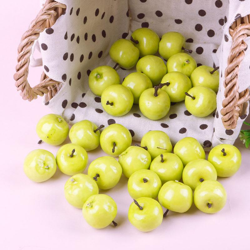 Home Fake Green Mini Apples Plastic Artificial Fruit House Party Kitchen Decor 30Pcs #41053(China (Mainland))