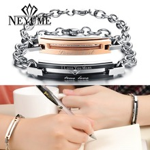 2014 new fashion design lover's gift stainless steel jewelry charm true love bracelet  for couple his and hers bracelets B201(China (Mainland))